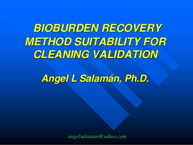 measuring bioburden for cleaning validation protocols