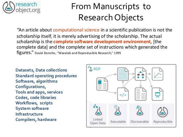 """From Manuscripts to Research Objects """"An article about computational science in a scientific publication is not the schola..."""
