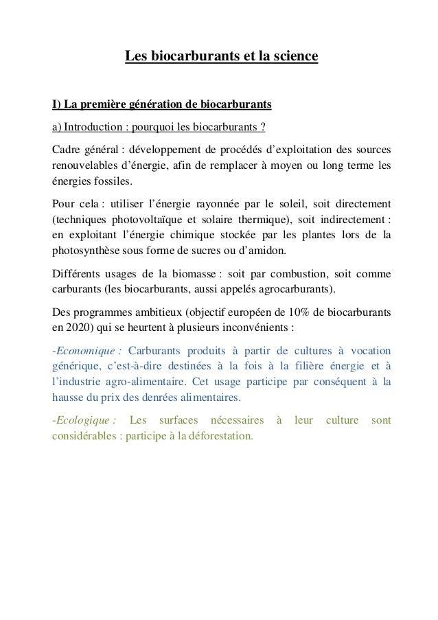 Les biocarburants et la scienceI) La première génération de biocarburantsa) Introduction : pourquoi les biocarburants ?Cad...