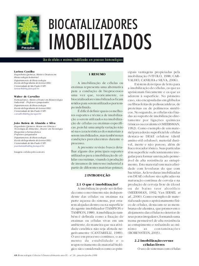 BIOCATALIZADORES       Pesquisa                 IMOBILIZADOS                           Uso de células e enzimas imobilizad...
