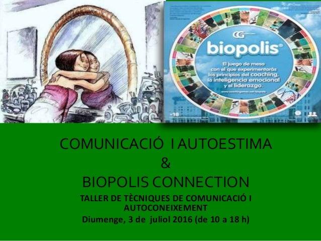 TALLER DE TÈCNIQUES DE COMUNICACIÓ I AUTOCONEIXEMENT Diumenge, 3 de juliol 2016 (de 10 a 18 h) COMUNICACIÓ I AUTOESTIMA & ...
