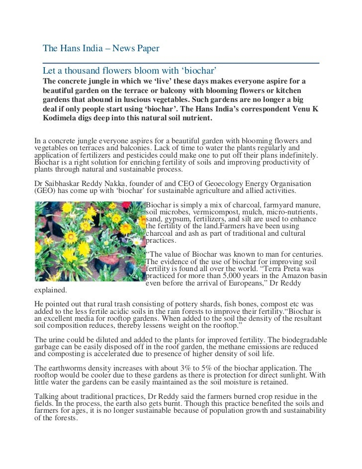 The Hans India – News Paper  Let a thousand flowers bloom with 'biochar'  The concrete jungle in which we 'live' these day...