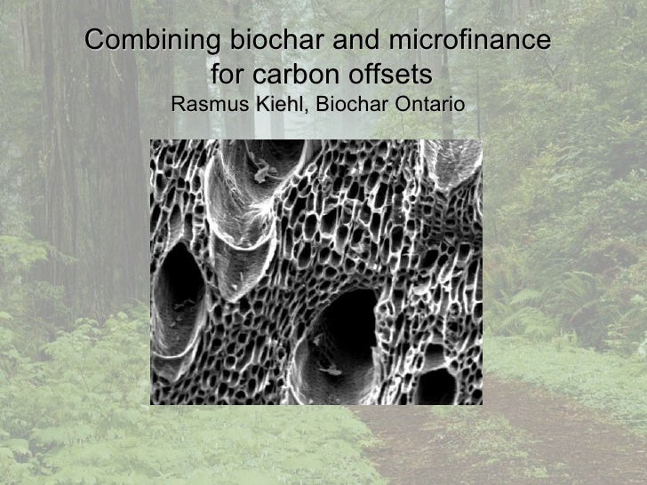 Combining biochar and microfinance  for carbon offsets Rasmus Kiehl, Biochar Ontario