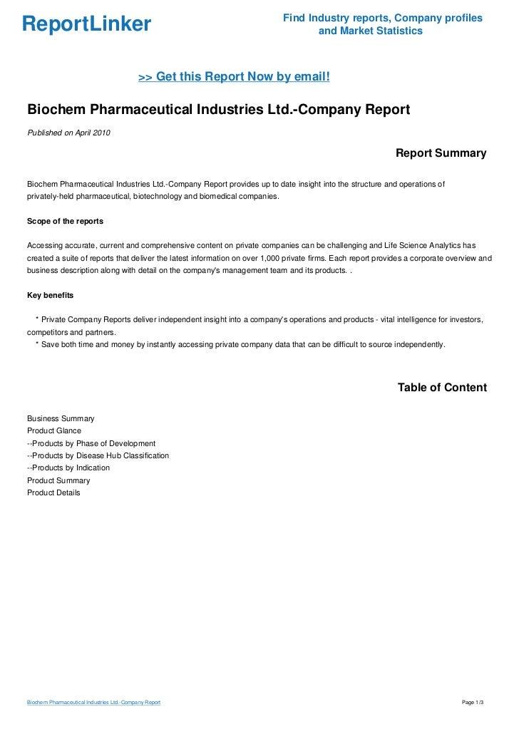 biochem pharmaceutical industries ltd  Biochem Pharmaceutical Industries Ltd.-Company Report