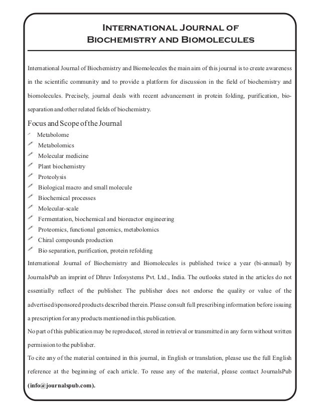 international journal of biochemistry and biomolecules vol issue  4 international journal of biochemistry