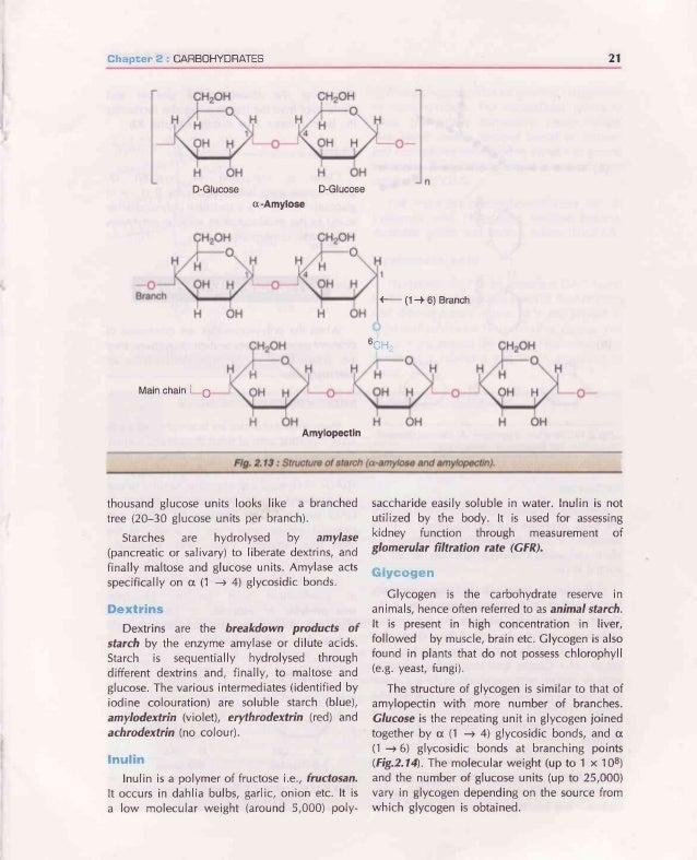 22 BIOCHEMISTRY Fiq.2.14: Structureofglycogen(A)Generalstructure (B)Enlargedat a branchpoint. Cellulose Celluloseoccursexc...