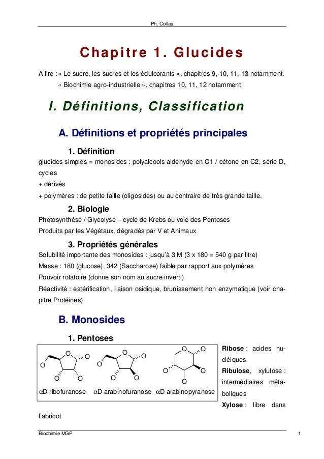 Ph. Collas Biochimie MGP 1 Chapitre 1. Glucides A lire :« Le sucre, les sucres et les édulcorants », chapitres 9, 10, 11, ...