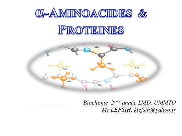 Biochimie 2ème année LMD, UMMTO Mr LEFSIH, klefsih@yahoo.fr