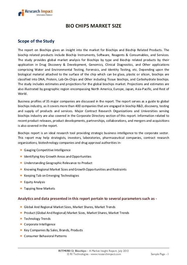 RITMIR012: Biochips – A Market Insight Report, July 2013 © RI Technologies - www.researchimpact.com Sample Page - 1 BIO CH...