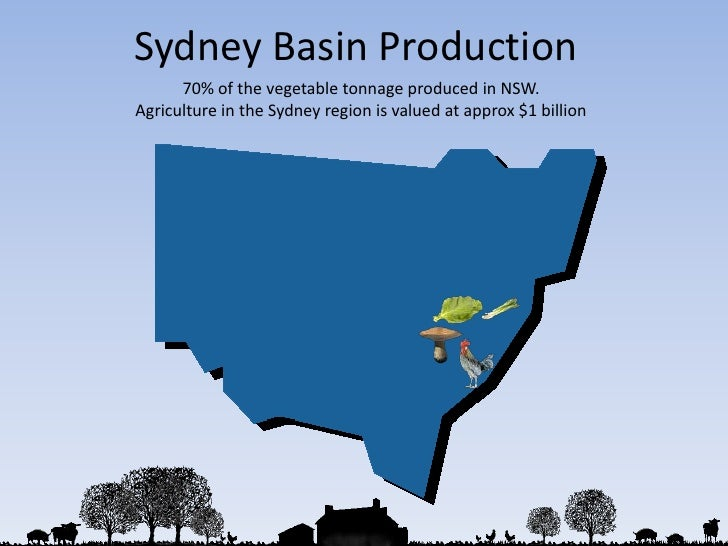 Sydney Basin Production<br />70% of the vegetable tonnage produced in NSW.<br />Agriculture in the Sydney region is valued...