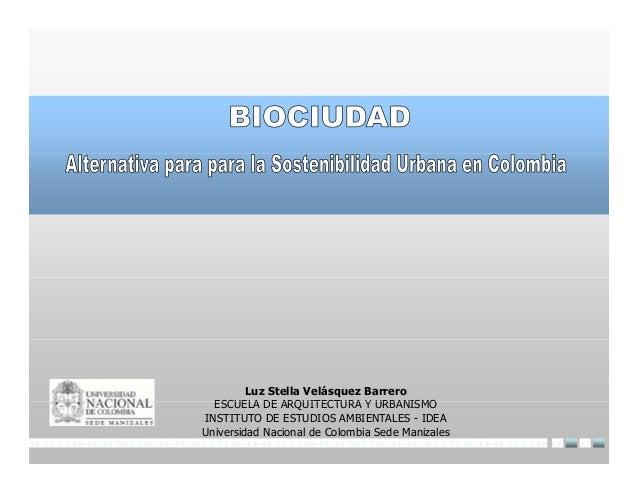 Luz Stella Velásquez Barrero  ESCUELA DE ARQUITECTURA Y URBANISMOINSTITUTO DE ESTUDIOS AMBIENTALES - IDEAUniversidad Nacio...