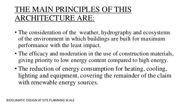 Bioclimatic design at the site planning scale – Site Planning Principles