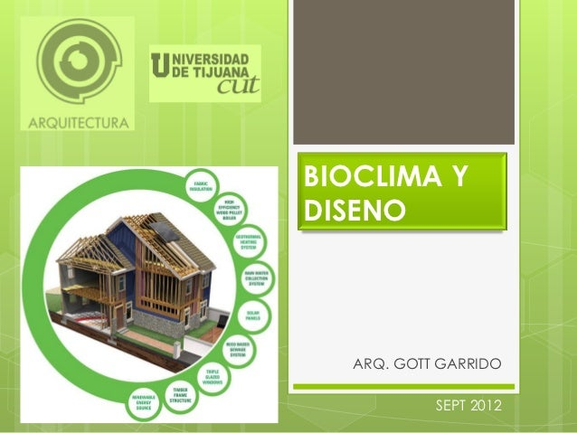 BIOCLIMA YDISENO  ARQ. GOTT GARRIDO           SEPT 2012