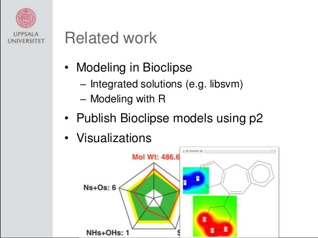 Related work • Modeling in Bioclipse – Integrated solutions (e.g. libsvm) – Modeling with R  • Publish Bioclipse models us...