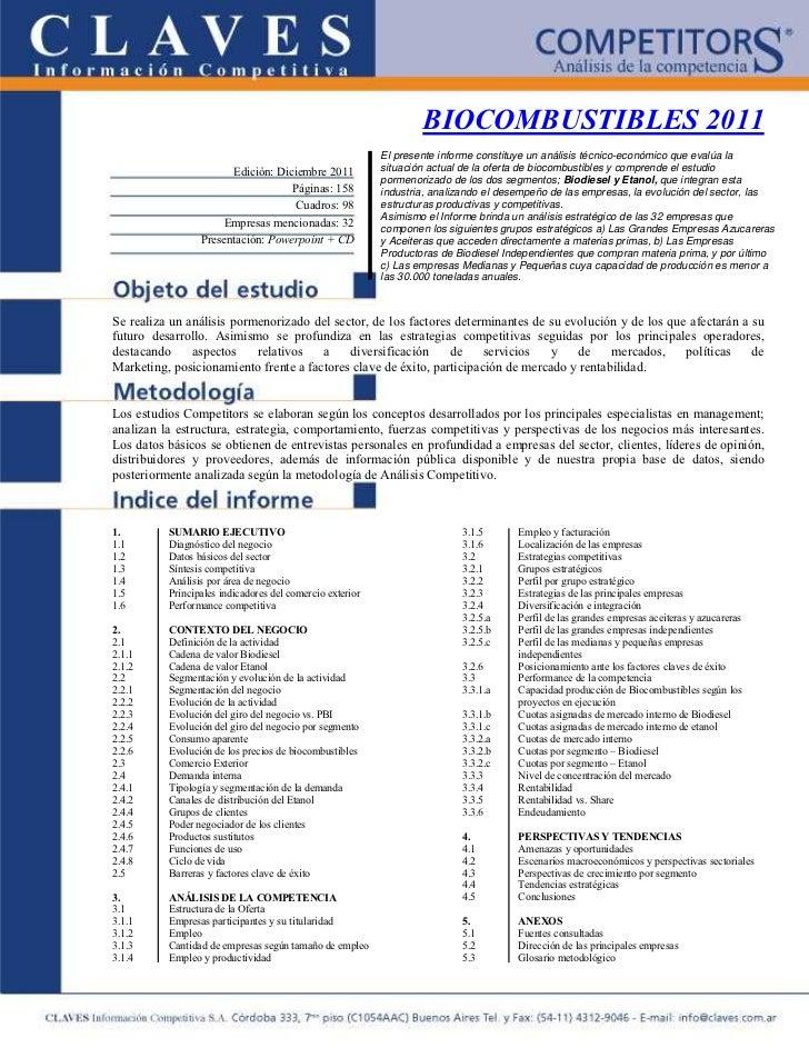 BIOCOMBUSTIBLES 2011                                                          El presente informe constituye un análisis t...
