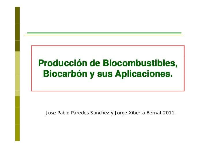 Producción de Biocombustibles, Biocarbón y sus Aplicaciones.                 Aplicaciones Jose Pablo Paredes Sánchez y Jor...