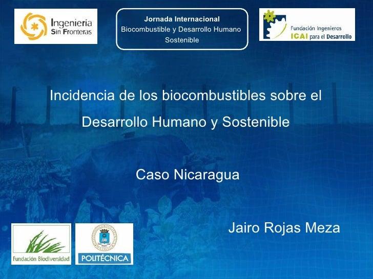 Incidencia de los biocombustibles sobre el  Desarrollo Humano y Sostenible  Caso Nicaragua Jairo Rojas Meza  Jornada Inter...