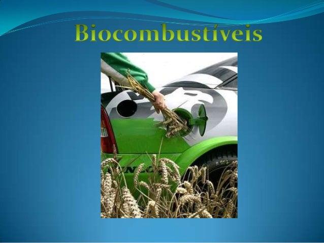  Os biocombustíveis são combustíveis com fontes renováveis, obtidos a partir do beneficiamento de determinados vegetais, ...