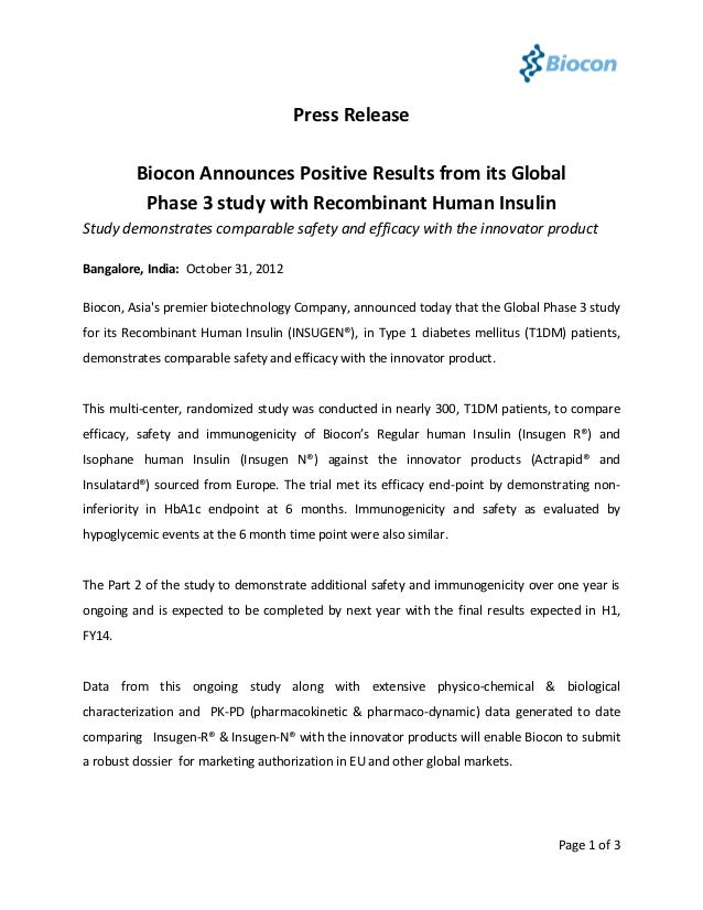 Press Release         Biocon Announces Positive Results from its Global          Phase 3 study with Recombinant Human Insu...