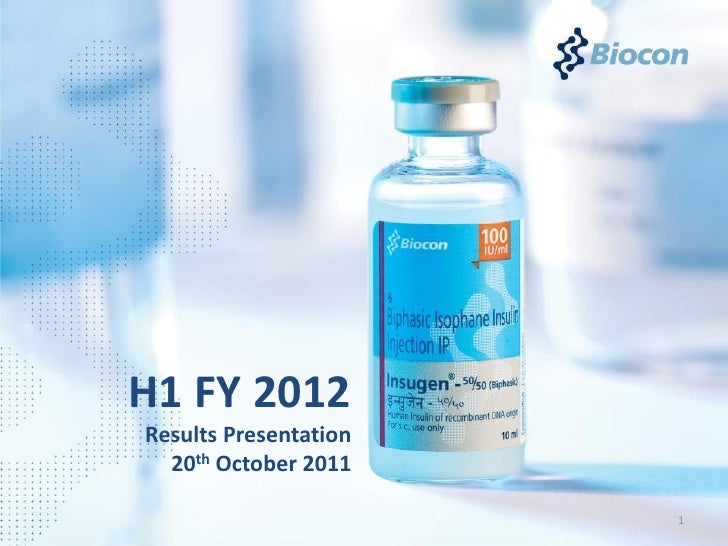H1 FY 2012Results Presentation  20th October 2011                       1