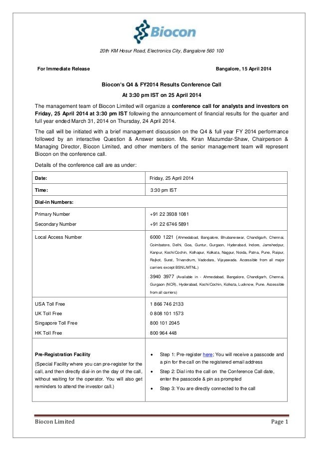 Biocon Limited Page 1 20th KM Hosur Road, Electronics City, Bangalore 560 100 For Immediate Release Bangalore, 15 April 20...