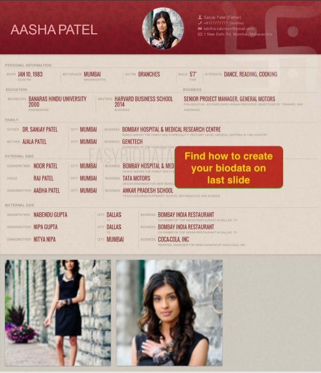 Biodata for marriage (example) - Made with easyBiodata.com