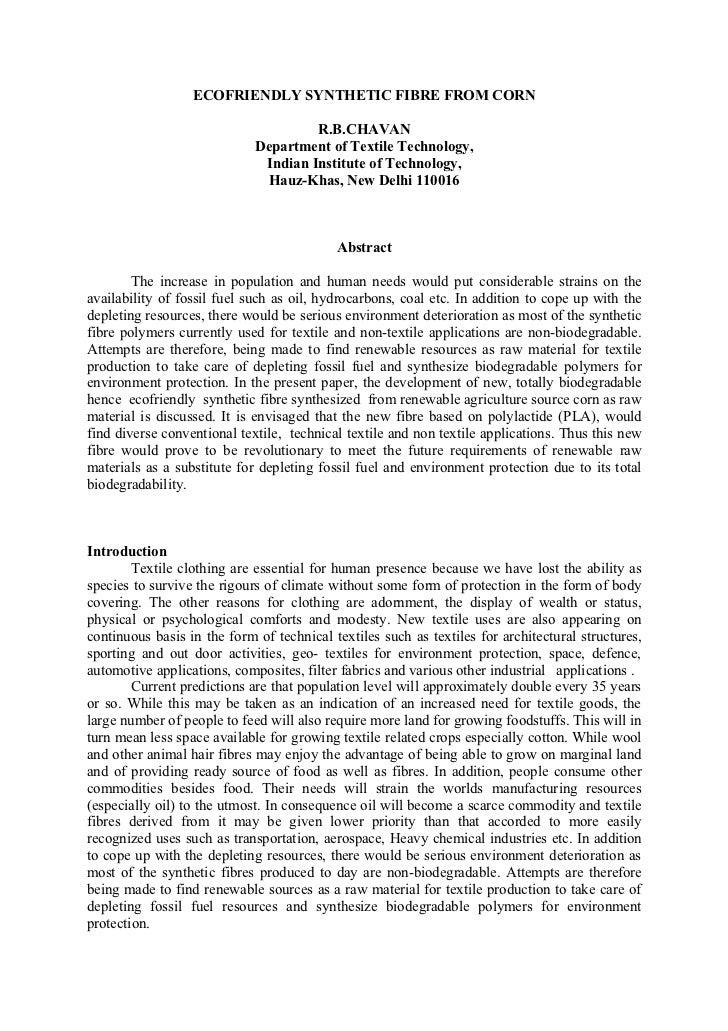 ECOFRIENDLY SYNTHETIC FIBRE FROM CORN                                      R.B.CHAVAN                             Departme...