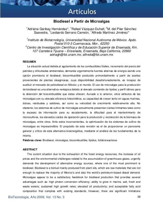 Biodiesel a Partir de Microalgas 1 Adriana Garibay Hernández*, 1 Rafael Vázquez-Duhalt, 2 M. del Pilar Sánchez Saavedra, 1...