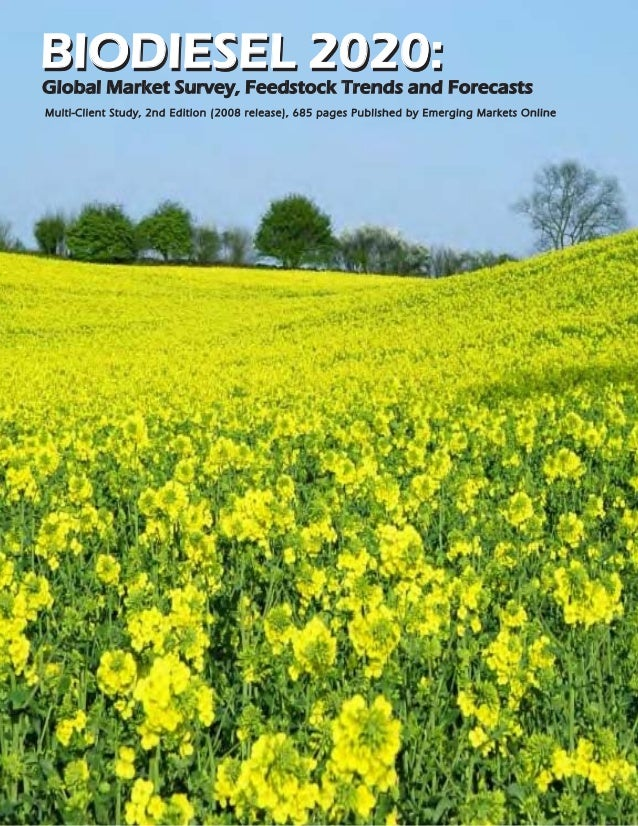 BIODIESEL 2020:Global Market Survey, Feedstock Trends and ForecastsMulti-Client Study, 2nd Edition (2008 release), 685 pag...