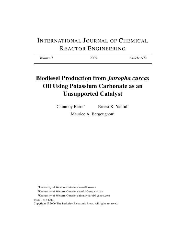 I NTERNATIONAL J OURNAL OF C HEMICAL          R EACTOR E NGINEERING       Volume 7                              2009      ...