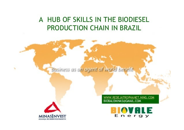 A HUB OF SKILLS IN THE BIODIESELPRODUCTION CHAIN IN BRAZILWWW.REDEJATROPHANET.NING.COMBIOBALEMINAS@GMAIL.COM