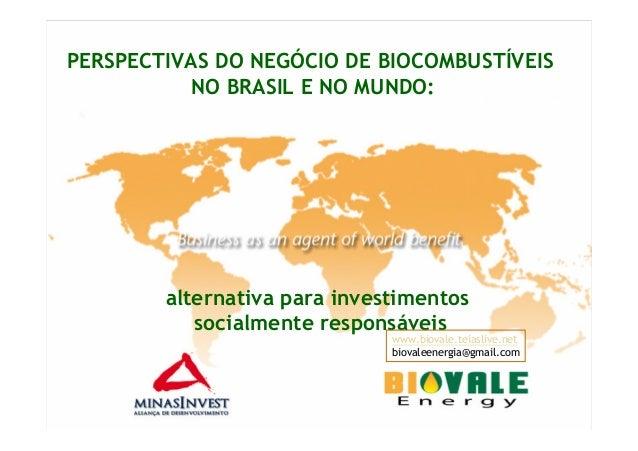 PERSPECTIVAS DO NEGÓCIO DE BIOCOMBUSTÍVEISNO BRASIL E NO MUNDO:alternativa para investimentossocialmente responsáveiswww.b...