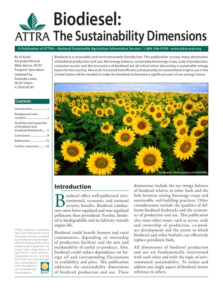Biodiesel:                                            The Sustainability Dimensions    A Publication of ATTRA—National Sus...