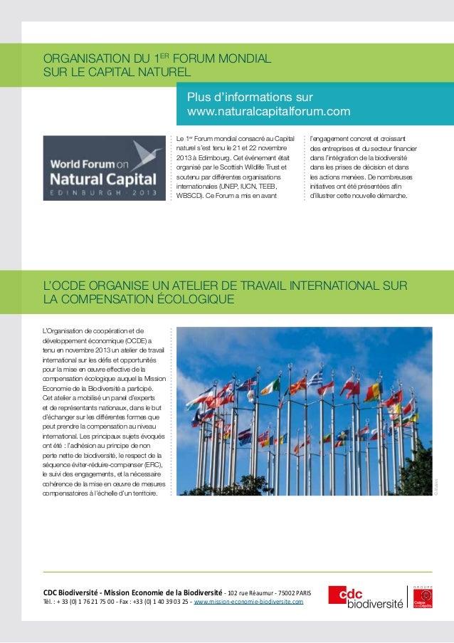 ORGANISATION DU 1ER FORUM MONDIAL SUR LE CAPITAL NATUREL Plus d'informations sur www.naturalcapitalforum.com Le 1er Forum ...