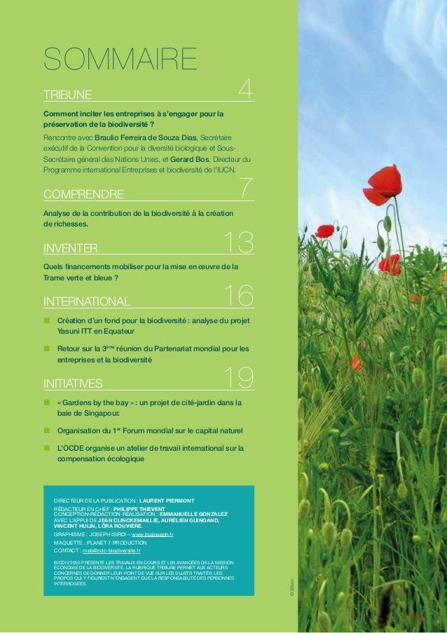 SOMMAIRE  4  TRIBUNE Comment inciter les entreprises à s'engager pour la préservation de la biodiversité ?  Rencontre avec...