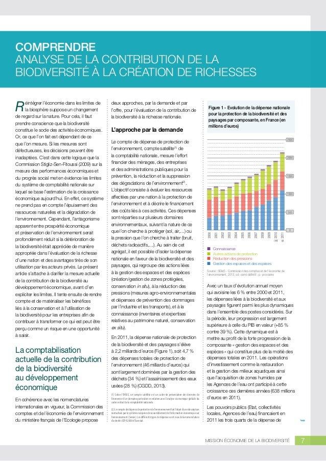 COMPRENDRE ANALYSE DE LA CONTRIBUTION DE LA BIODIVERSITÉ À LA CRÉATION DE RICHESSES  La comptabilisation actuelle de la co...