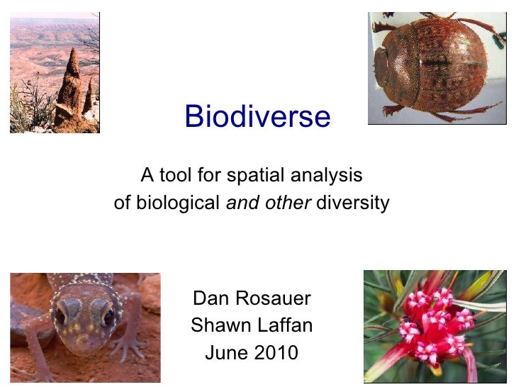 Biodiverse A tool for spatial analysis of biological  and other  diversity Dan Rosauer Shawn Laffan June 2010
