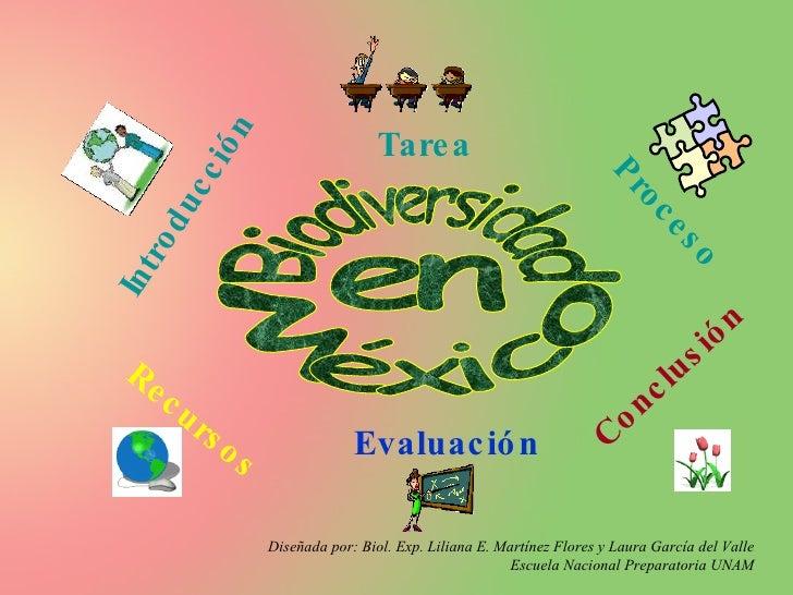 Biodiversidad en  México Introducción Tarea Proceso Recursos Evaluación Conclusión Diseñada por: Biol. Exp. Liliana E. Mar...