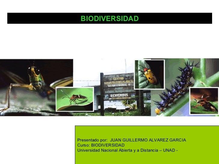 BIODIVERSIDADPresentado por: JUAN GUILLERMO ALVAREZ GARCIACurso: BIODIVERSIDADUniversidad Nacional Abierta y a Distancia –...