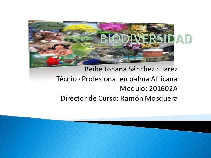 Beibe Johana Sánchez SuarezTécnico Profesional en palma Africana                    Modulo: 201602A Director de Curso: Ram...