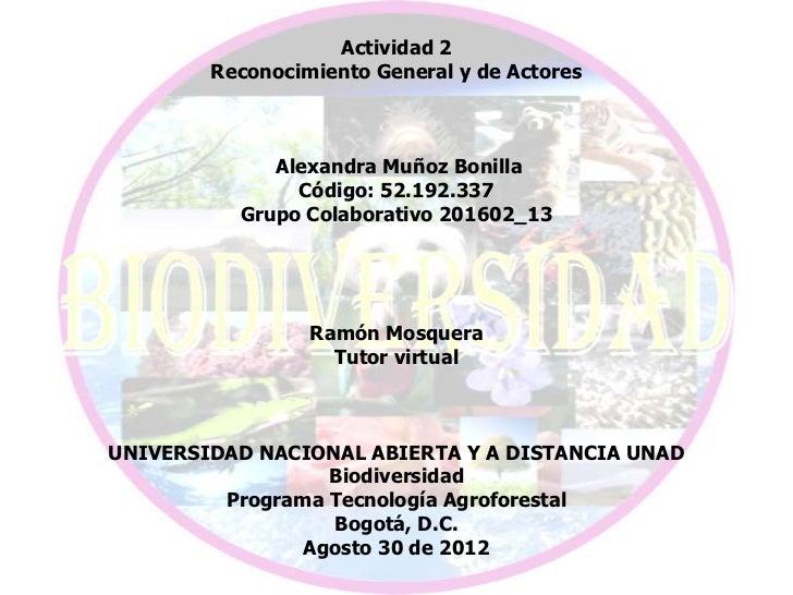 Actividad 2        Reconocimiento General y de Actores             Alexandra Muñoz Bonilla               Código: 52.192.33...