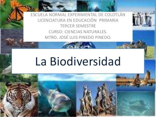 La Biodiversidad ESCUELA NORMAL EXPERIMENTAL DE COLOTLÁN LICENCIATURA EN EDUCACIÓN PRIMARIA TERCER SEMESTRE CURSO: CIENCIA...