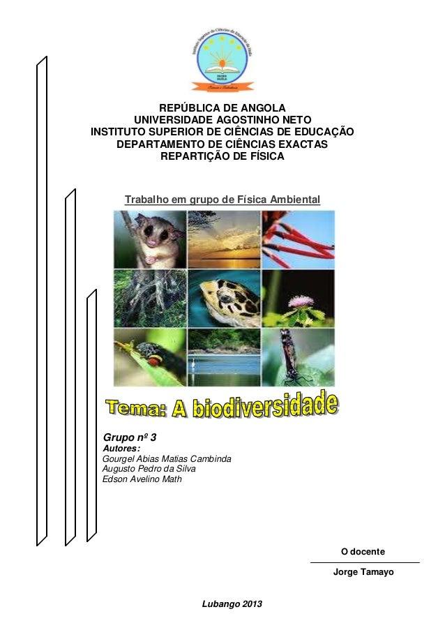REPÚBLICA DE ANGOLA UNIVERSIDADE AGOSTINHO NETO INSTITUTO SUPERIOR DE CIÊNCIAS DE EDUCAÇÃO DEPARTAMENTO DE CIÊNCIAS EXACTA...