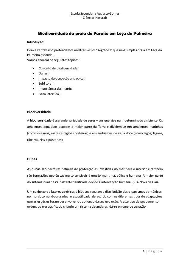 Escola Secundária Augusto Gomes Ciências Naturais 1 | P á g i n a Biodiversidade da praia do Paraíso em Leça da Palmeira I...