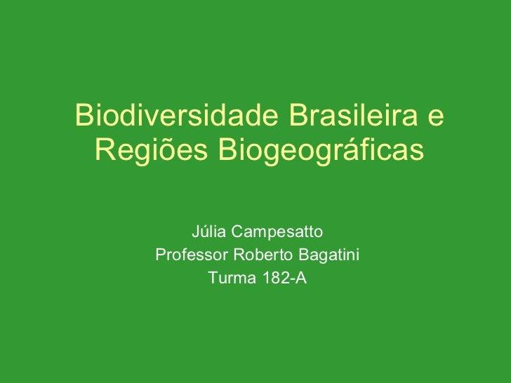 Biodiversidade Brasileira e Regiões Biogeográficas Júlia Campesatto Professor Roberto Bagatini Turma 182-A