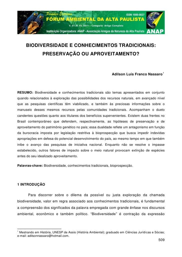V. 07, N. 03, 2011 – Categoria: Artigo Completo      BIODIVERSIDADE E CONHECIMENTOS TRADICIONAIS:                 PRESERVA...