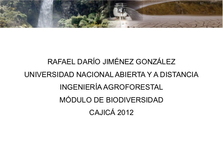 BIODIVERSIDAD     RAFAEL DARÍO JIMÉNEZ GONZÁLEZUNIVERSIDAD NACIONAL ABIERTA Y A DISTANCIA        INGENIERÍA AGROFORESTAL  ...