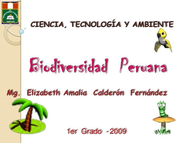 CIENCIA, TECNOLOGÍA Y AMBIENTE <br />Biodiversidad  Peruana<br />Mg.  Elizabeth Amalia  Calderón  Fernández<br />1er  Grad...