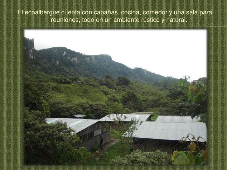 El ecoalbergue cuenta con cabañas, cocina, comedor y una sala para reuniones, todo en un ambiente rústico y natural.<br />