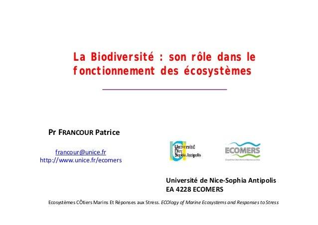 La Biodiversité : son rôle dans le                       r t       n r     an             fonctionnement des écosystèmes  ...